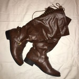 XOXO Brown Leather Back Lace Boots